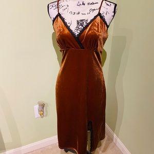 Burnt orange velvet and lace dress, worn once! $20